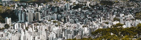 Panorama of Juiz de Fora city from high point. Panoramic shot of an urban landscape from high above of Juiz de Fora town in Minas Gerais state of Brazil Royalty Free Stock Photo