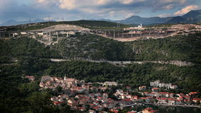 Panoramic shot of a very traffic and industrial bay  of adriatic sea stock video footage