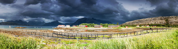 Panoramic shot of the village Tarnvika in Northern Norway during Stock Photos