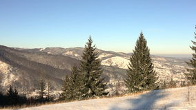 Panoramic shot of winter mountains at sunny day.  stock video footage