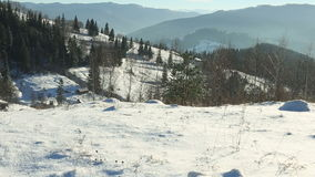 Panoramic shot of winter mountains at sunny day.  stock footage