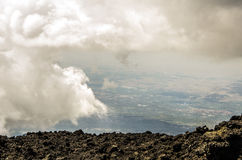 Panoramic of the Sicilian territory from the Etna royalty free stock images