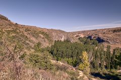 Panoramic of the sickles of the Duraton River. Panorama of the sickles of the Duraton River on a sunny summer day royalty free stock photo