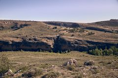 Panoramic of the sickles of the Duraton River. Panorama of the sickles of the Duraton River on a sunny summer day stock photos
