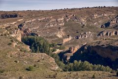 Panoramic of the sickles of the Duraton River. Panorama of the sickles of the Duraton River on a sunny summer day stock photo