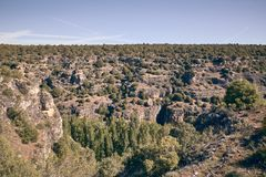 Panoramic of the sickles of the Duraton River. Panorama of the sickles of the Duraton River on a sunny summer day royalty free stock image