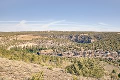 Panoramic of the sickles of the Duraton River. Panorama of the sickles of the Duraton River on a sunny summer day royalty free stock photography