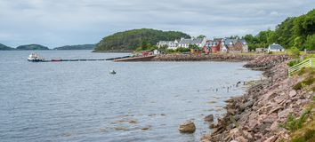 Panoramic sight of Shieldaig, village in Wester Ross in the Northwest Highlands of Scotland. stock photo