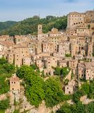 Panoramic sight of Sorano, in the Province of Grosseto, Tuscany Toscana, Italy. Sorano is a town and comune in the province of Grosseto, southern Tuscany Italy Royalty Free Stock Photo