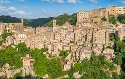 Panoramic sight of Sorano, in the Province of Grosseto, Tuscany Toscana, Italy. Sorano is a town and comune in the province of Grosseto, southern Tuscany Italy Stock Images