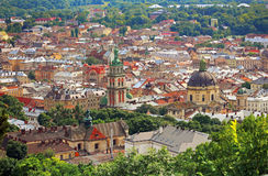 Panoramic sight of town Lvov (Lviv) in Ukraine Royalty Free Stock Images
