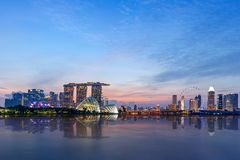 Panoramic of Singapore Skyline Royalty Free Stock Photos