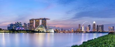 Panoramic of Singapore Skyline after sunset stock photo