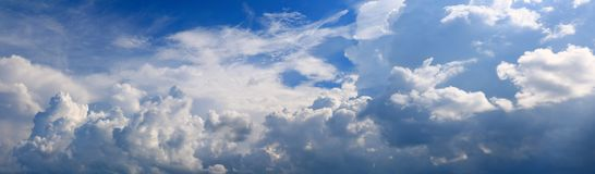 Panoramic sky and cloud summer time beautiful background.  stock photography
