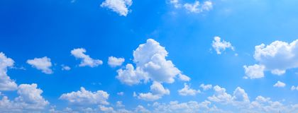 Panoramic sky and cloud summertime beautiful background.  royalty free stock photo