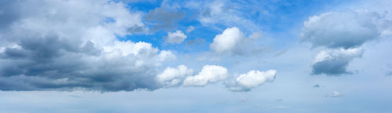 Panoramic sky with clouds. Wide panorama of sky before spring rain royalty free stock photos