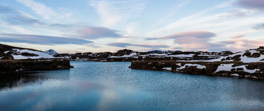 Panoramic of the sky Snowy winter scene in Scandinavia Royalty Free Stock Photo