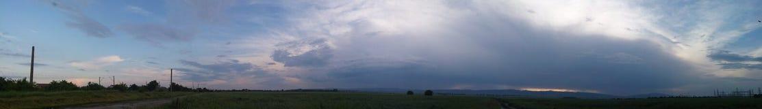 Panoramic Sky view. Somewhere in Romania Royalty Free Stock Image