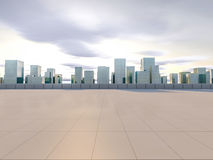 Panoramic skyline and buildings with empty square floor. 3D   Stock Photography
