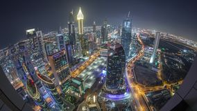 Skyline of the buildings of Sheikh Zayed Road and DIFC aerial night timelapse in Dubai, UAE. Panoramic skyline of the buildings near Sheikh Zayed Road and DIFC stock video