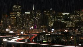 Rain. San Francisco Skyline on a Rainy Night stock video footage
