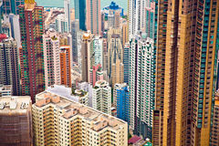 Panoramic Skyline of Hong Kong City Stock Image