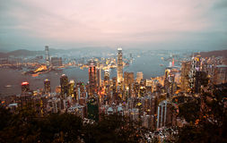 Panoramic Skyline of Hong Kong City Royalty Free Stock Photography