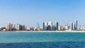 Panoramic Skyline of Manama city, Bahrain. Modern tall buildings on the horizon. Skyline of Manama city, Bahrain Stock Photo
