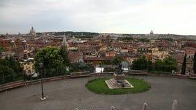 Panoramic skyline of Rome. Panoramic aerial view of Rome skyline in Italy. From Pincio hill with San Pietro,Saint Peter basilica, and Trinita dei Monti road stock video footage