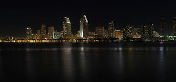 Panoramic skyline of San Diego, California at night Stock Photos