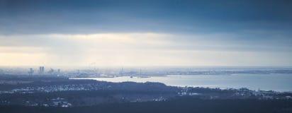 Panoramic skyline of Tallinn city, Baltic sea coast Royalty Free Stock Photography