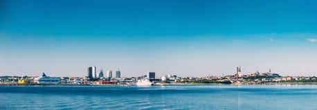 Panoramic Skyline Of Tallinn And Harbour, Coast Stock Photos