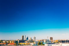 Panoramic Skyline Of Tallinn And Harbour, Coast, Port. Royalty Free Stock Images