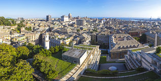 Panoramic skyline view of Genoa city, Italy Royalty Free Stock Image