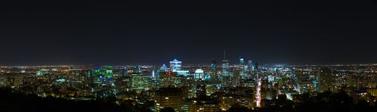 Montreal night skyline view from Mount Royal stock image