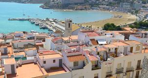 Panoramic Skyline View Of Peniscola City Beach Resort At Mediterranean Sea In Spain. VALENCIA, SPAIN - JULY 28, 2016: Panoramic Skyline View Of Peniscola City stock footage