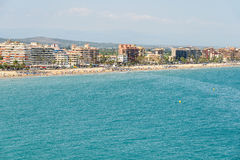 Panoramic Skyline View Of Peniscola City Beach Resort At Mediterranean Sea Stock Photo