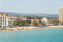 Panoramic Skyline View Of Peniscola City Beach Resort At Mediterranean Sea Stock Images