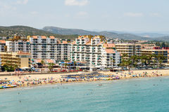 Panoramic Skyline View Of Peniscola City Beach Resort At Mediterranean Sea Royalty Free Stock Images