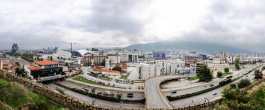 Panoramic skyline view of Skopje from Kale fortress stock photography