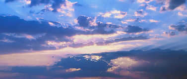 Panoramic skyscape. Low clouds early in the morning Stock Images