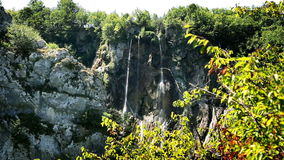Panoramic small waterfall in Plitvice national park stock video footage
