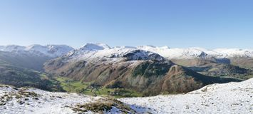 Panoramic of snow-capped mountains, Lake District Royalty Free Stock Image