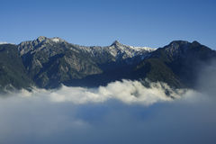 Panoramic snow mountain peak scenery Royalty Free Stock Images