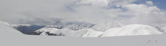 Panoramic snowy Colorado mountains Royalty Free Stock Images