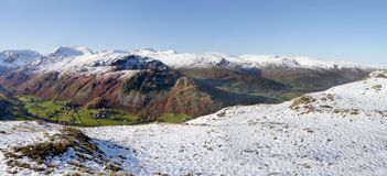 Panoramic from snowy ground over to snow-capped mountains Stock Photography