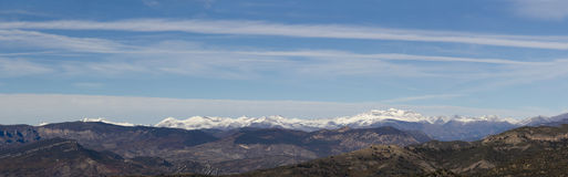 Panoramic of the snowy mountains of the Pyrenees Royalty Free Stock Photo