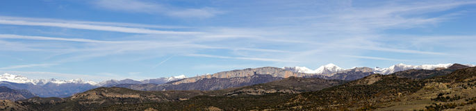 Panoramic of the snowy mountains of the Pyrenees Stock Photography
