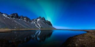 Panoramic Snowy winter scene in Scandinavia Royalty Free Stock Image