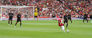 Panoramic soccer action royalty free stock images